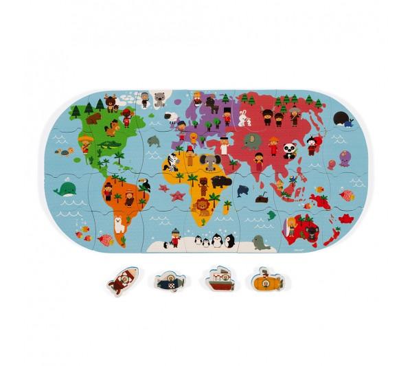 Janod Hračka do vody puzzle Mapa sveta 28 ks